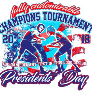 PRESIDENTS-WRESTLING-TOURNAMENT-FULLY-CUSTOMIZABLE-T-SHIRT-LOGO-DESIGN