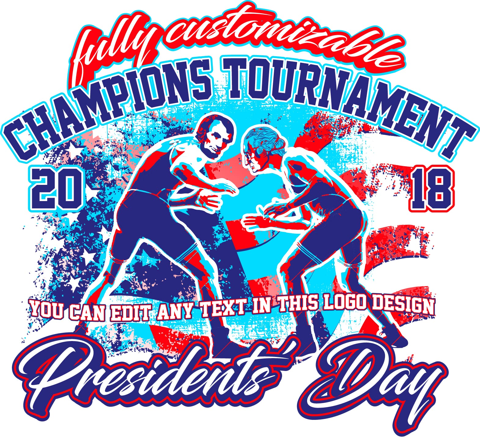 Presidents Wrestling Fully Customizable T Shirt Design Urartstudio