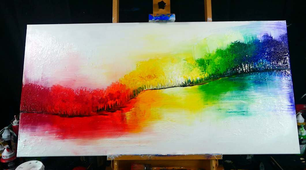 Magical Rainbow Forest Abstract Landscape Painting