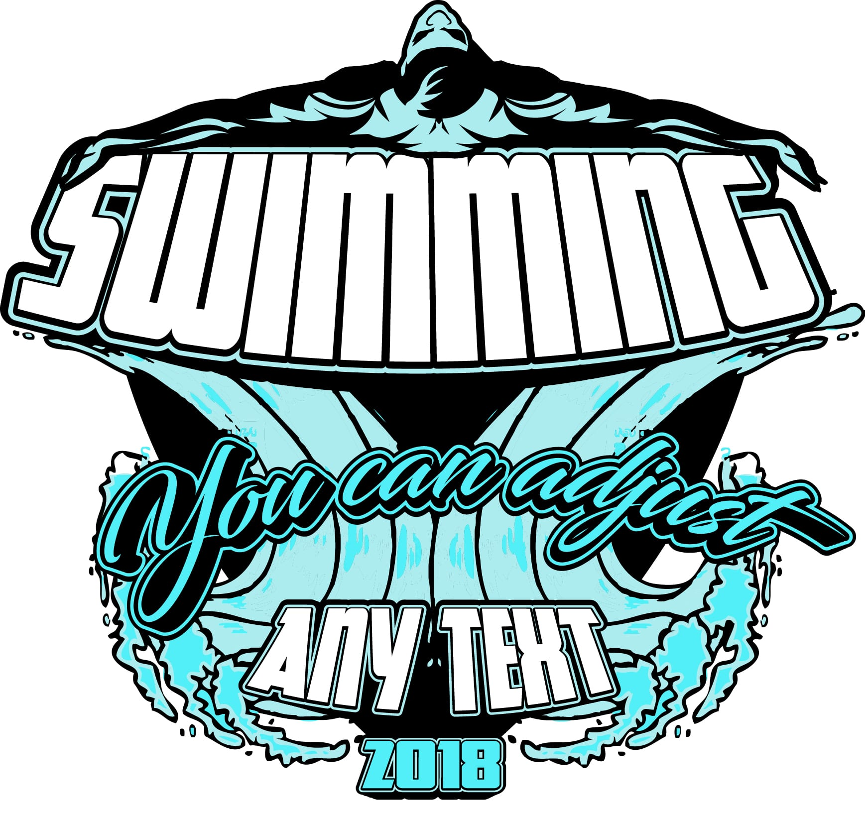 SWIMMING FULLY CUSTOMIZABLE T-SHIRT LOGO DESIGN