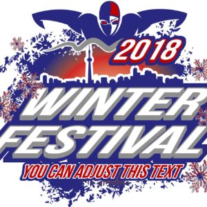 SWIMMING WINTER FESTIVAL 2018 LOGO DESIGN WITH ADJUSTABLE TEXT