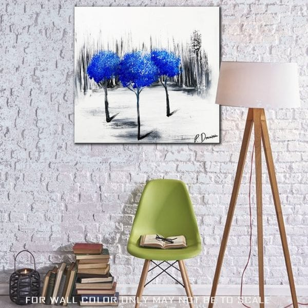 THREE BLUE TREES ABSTRACT PAINTING
