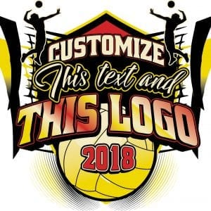 VOLLEYBALL t-shirt logo design with adjustable text and all graphic elements
