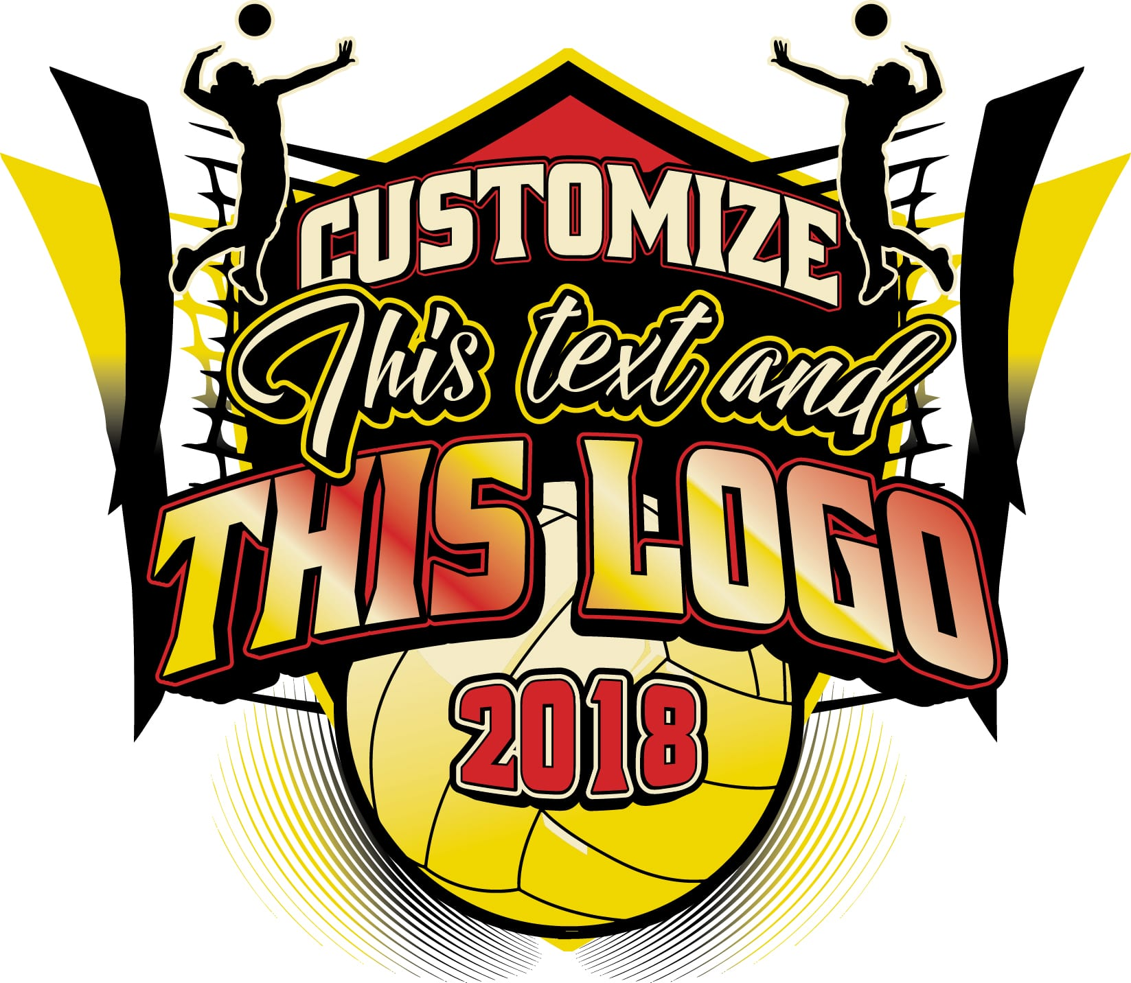 Volleyball T Shirt Logo Design With Adjustable Text And All