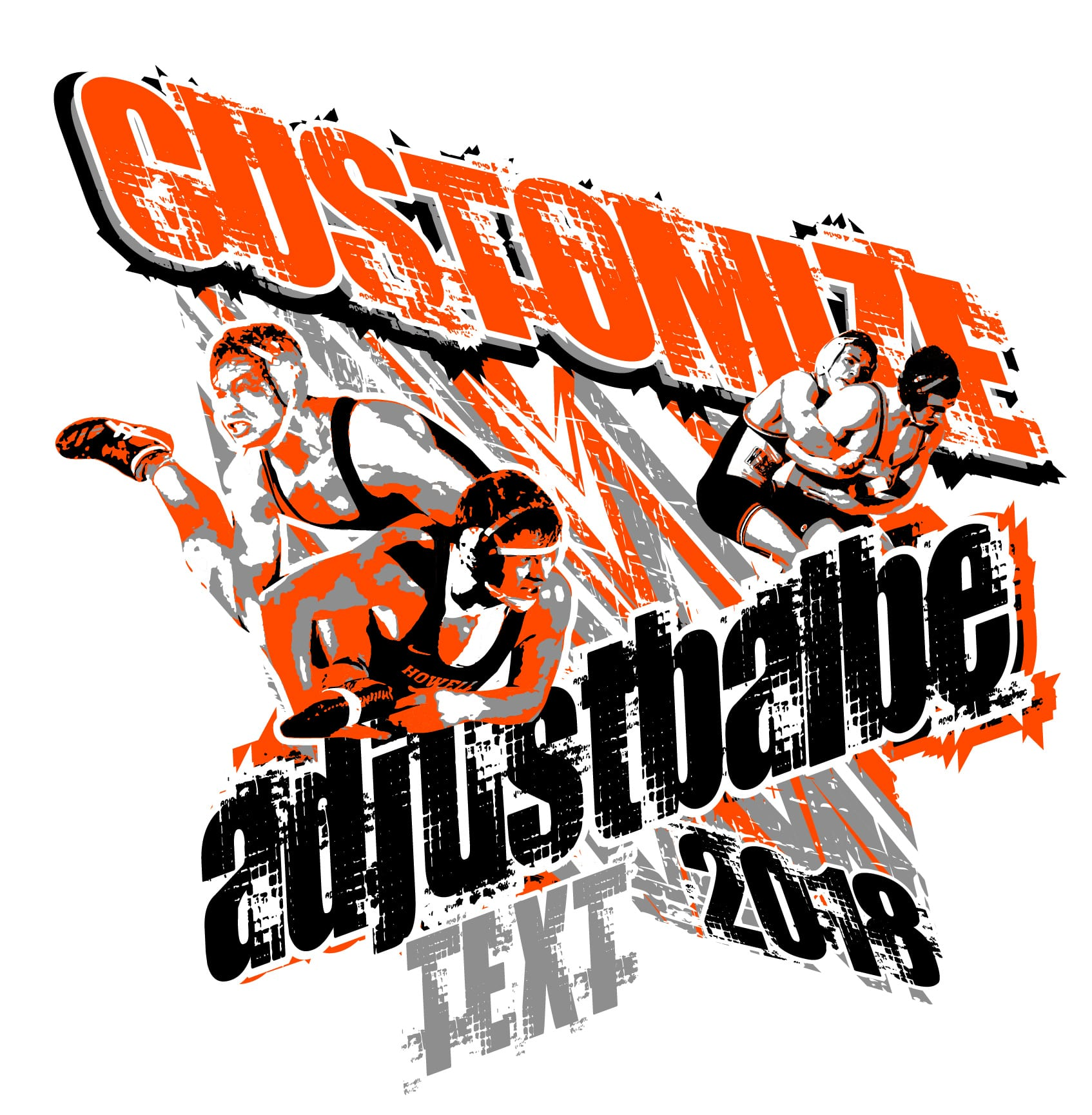 450ebf437 WRESTLING t-shirt logo design with adjustable text and all graphic elements