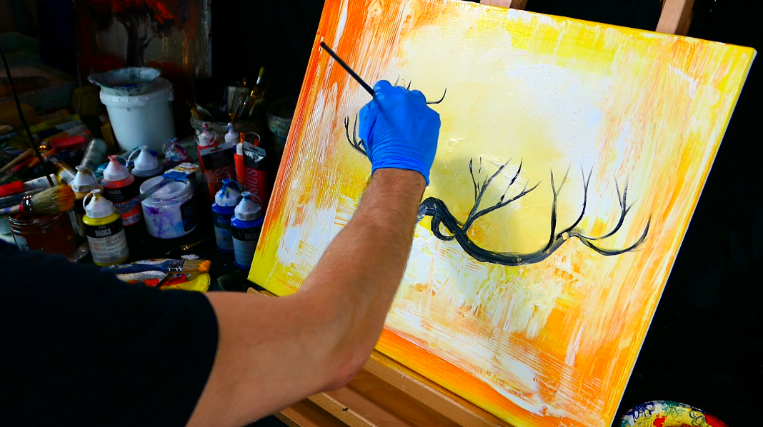 New painting video lesson coming up in the next 30 minutes - Weeping Willow tree painting on bright abstract background - wood grain tool, fan brush, round brush