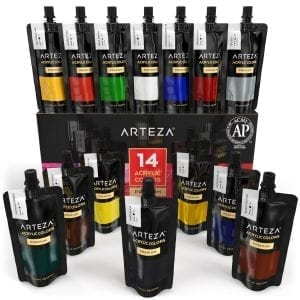 Acrylic Premium Artist Paints Set - 14 Colors (14 x 120 ml / 4.06 US fl oz)