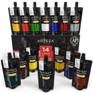 Acrylic Premium Artist Paints Set - 14 Colors (14 x 120 ml / 4.06 US fl oz)