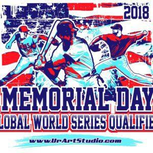BASEBALL MEMORIAL DAY GLOBAL WORLD SERIES QUALIFIER 2018 t-shirt vector logo design for print