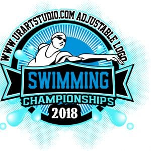 COLOR SEPARATED SWIMMING CHAMPIONSHIPS 2018 T-shirt vector logo design for print