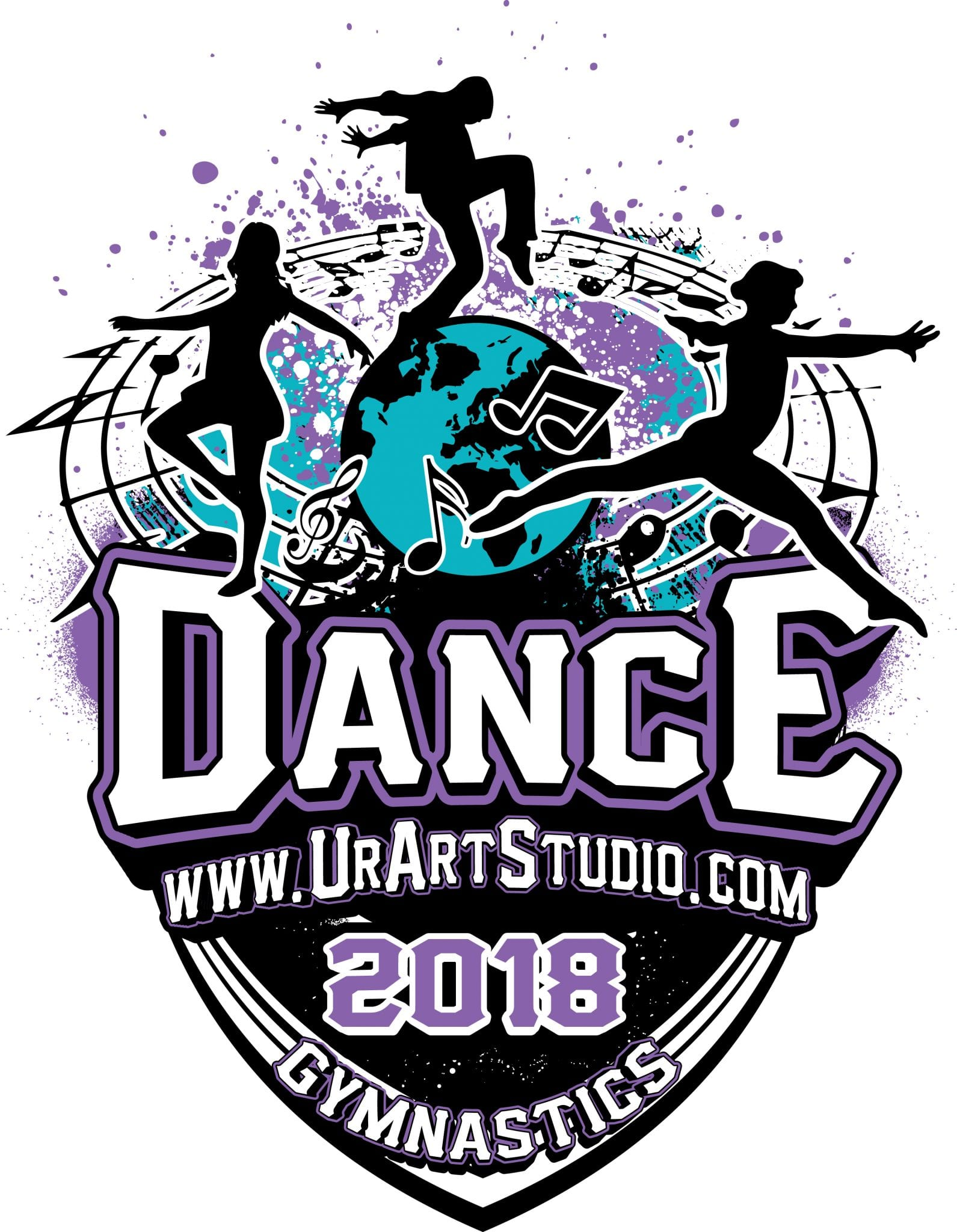 DANCE and GYMNASTICS 2018 T-shirt vector logo design for print
