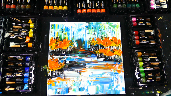 Easy to follow abstract landscape painting acrylics on canvas and pallet knife