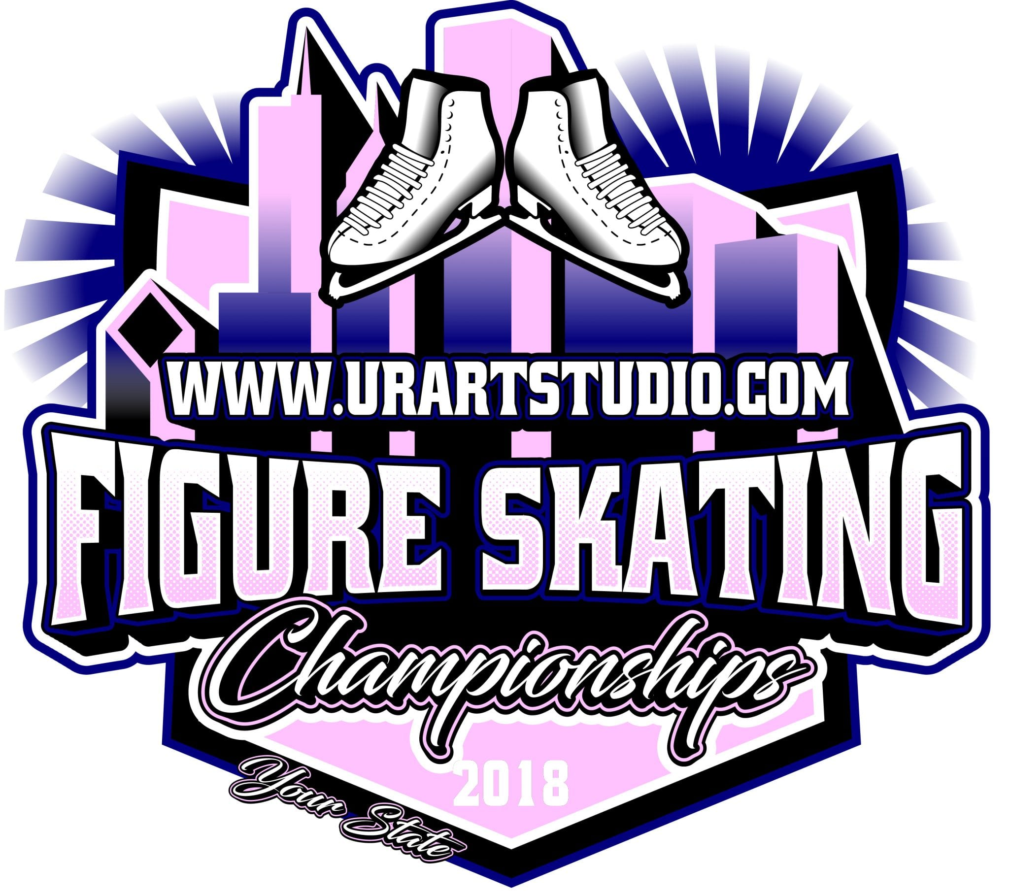 FIGURE SKATING CHAMPIONSHIPS 2018 T-shirt vector logo design for print
