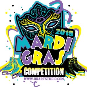 FIGURE SKATING MARDI GRAS COMPETITION 2019 T-shirt vector logo design for print