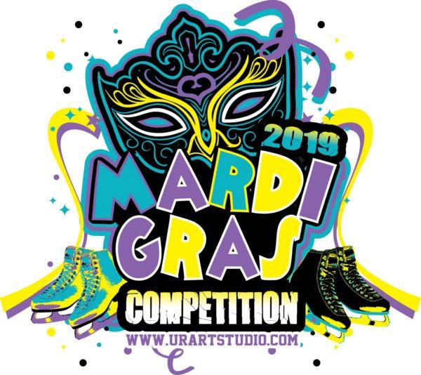 FIGURE SKATING MARDI GRAS COMPETITION 2019 T-shirt vector logo design for print
