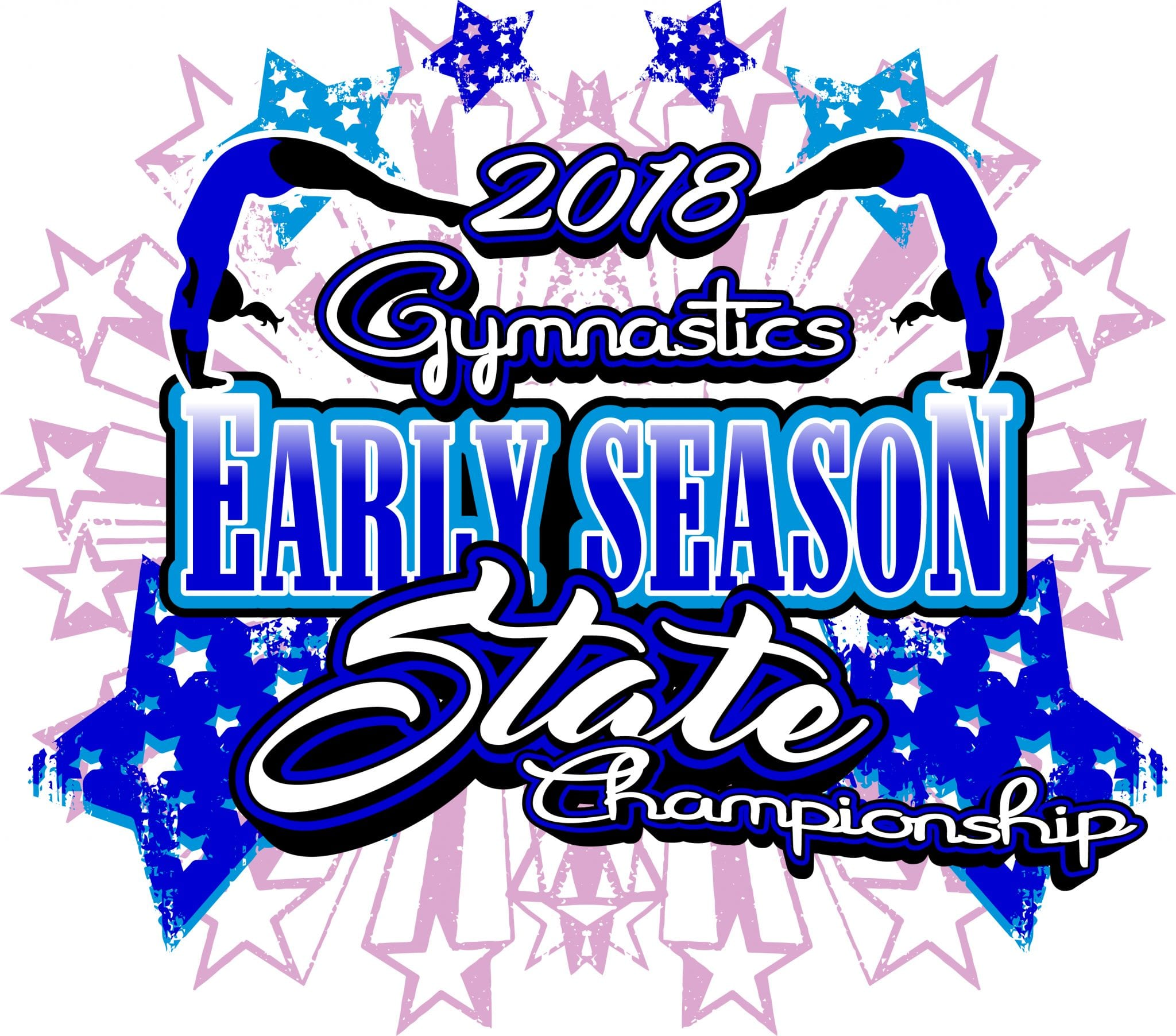 GYMNASTICS EARLY SEASON STATE CHAMPIONSHIP 2018 T-shirt vector logo design for print