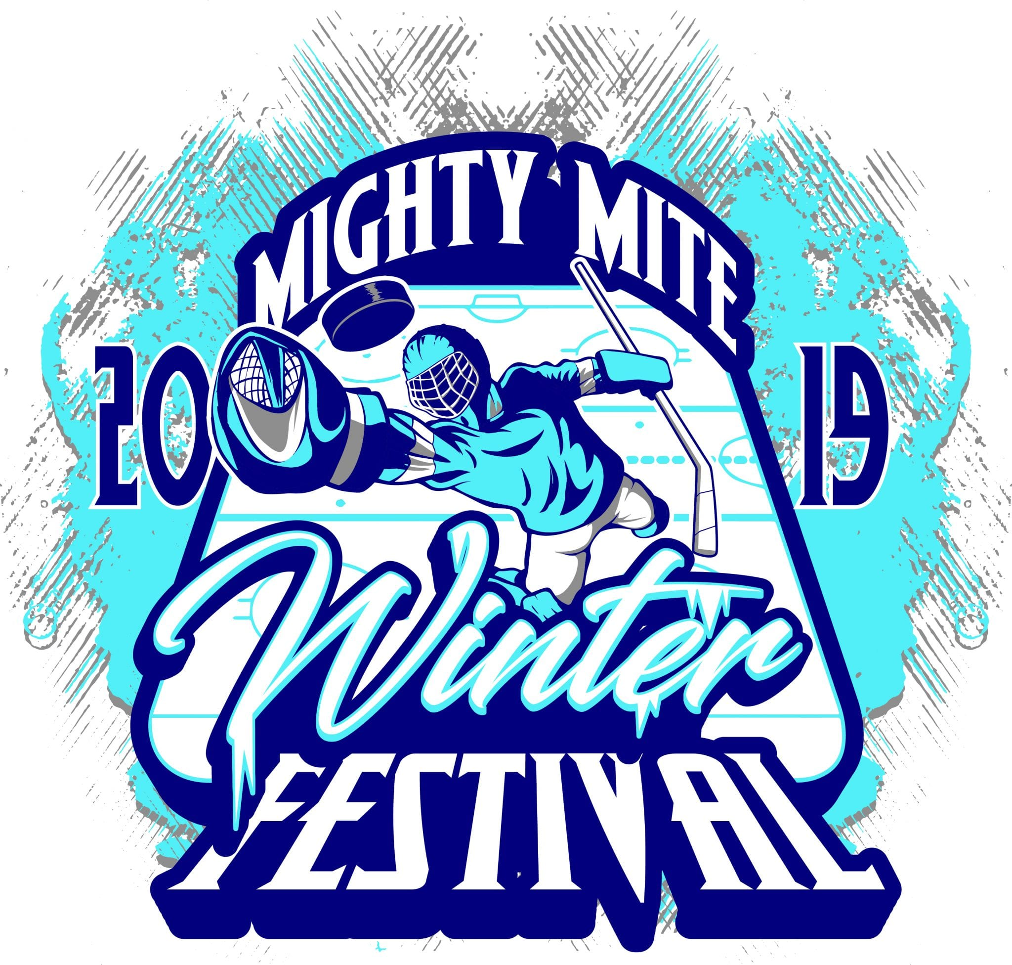 HOCKEY MIGHTY MITE WINTER FESTIVAL 2019 T-shirt vector logo design for print.ai