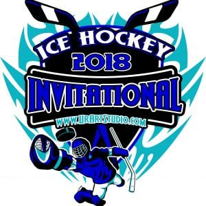 ICE HOCKEY INVITATIONAL 2018 t-shirt vector logo design for print