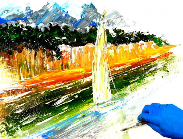 Pallet knife easy painting techniques - sailboat sailing near beautiful landscape with high shore line and mountains