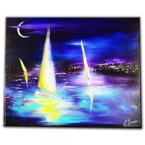 SAILING AT NIGHT - original acrylic seascape painting by Peter Dranitsin