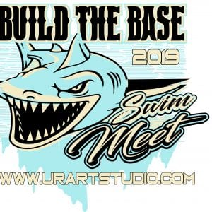 SHARK SWIM MEET BUILD THE BASE 2019 T-shirt vector logo design for print