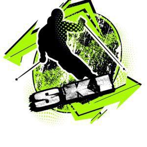 SKI T-shirt vector logo design for print
