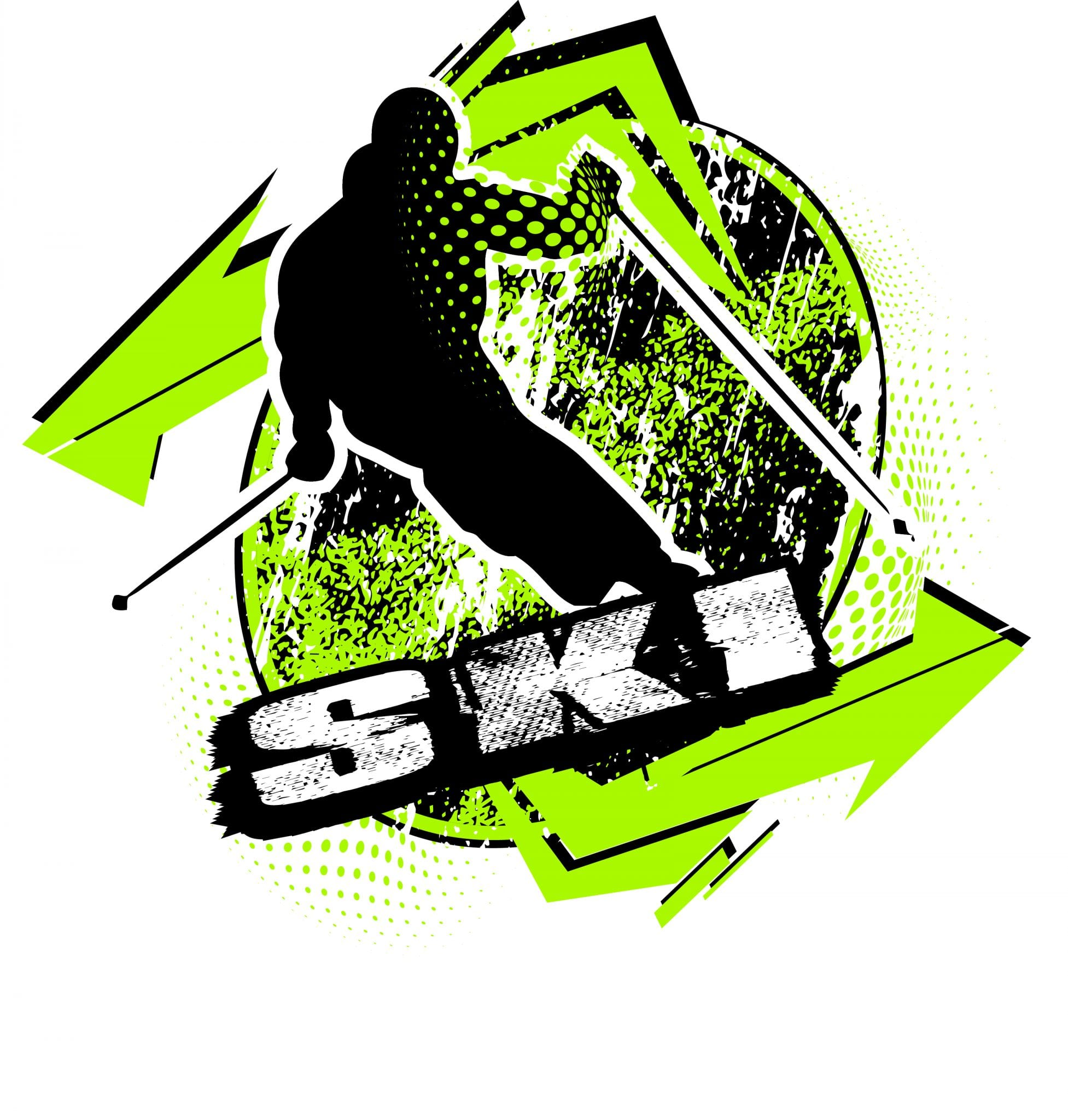 SKI T-shirt vector logo design for print
