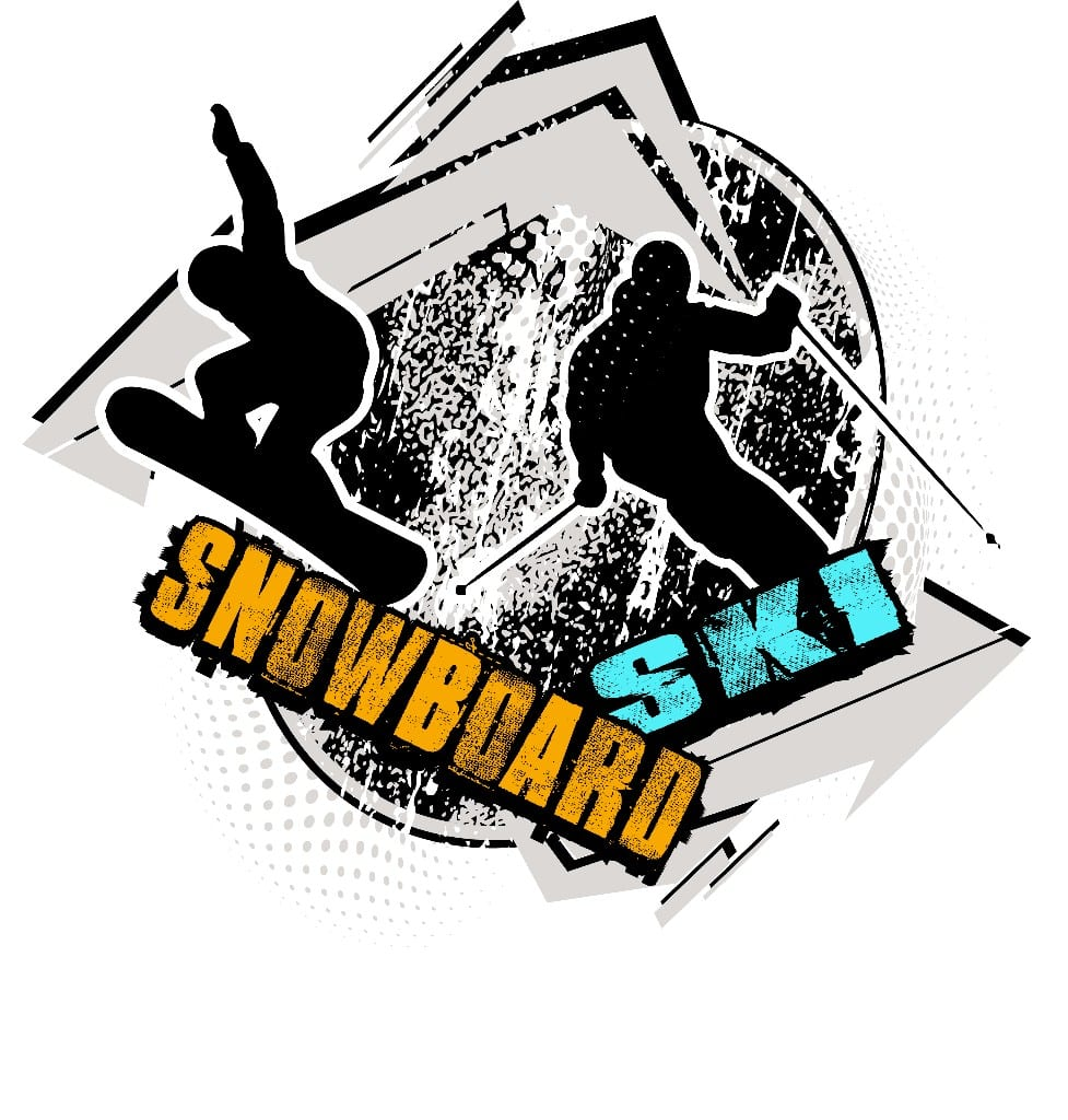 SNOWBOARD-AND-SKI-T-shirt-vector-logo-design-for-print