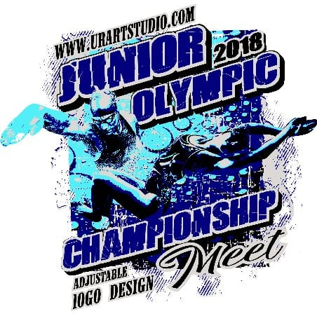 SWIMMING JUNIOR OLYMPIC CHAMPIONSHIP MEET 2018 t-shirt vector logo design for print