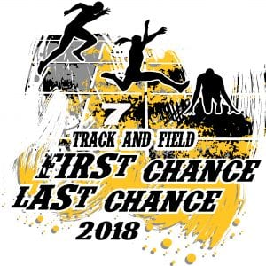 TRACK AND FIELD, FIRST CHANCE, LAST CHANCE T-shirt vector logo design for print