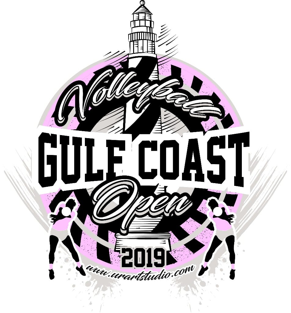 VOLLEYBALL GULF COAST OPEN 2019 T-shirt vector logo design for print