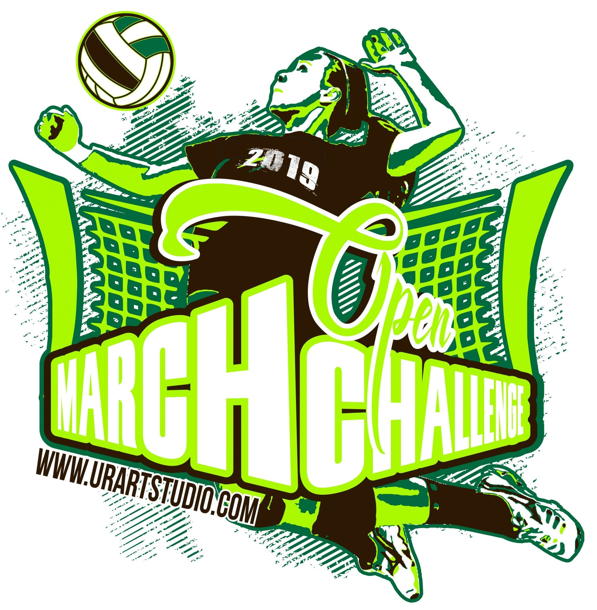 VOLLEYBALL MARCH CHALLENGE 2019 T shirt vector logo design for print