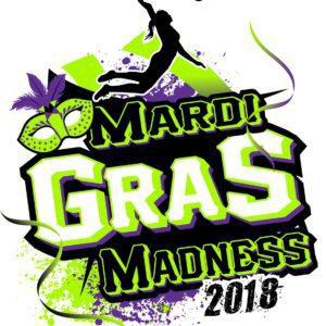 VOLLEYBALL MARDI GRAS MADNESS t-shirt vector logo design for print