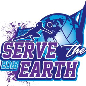 VOLLEYBALL SERVE THE EARTH 2018 t-shirt vector logo design for print