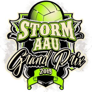 VOLLEYBALL STORM AAU GRAND PRIX 2019 T-shirt vector logo design for print