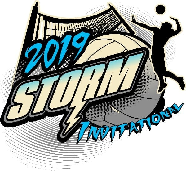 VOLLEYBALL STORM INVITATIONAL 2019 T-shirt vector logo design for print