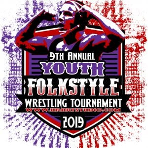 WRESTLING 9TH ANNUAL YOUTH FOLKSTYLE TOURNAMENT 2019 T-shirt vector logo design for print