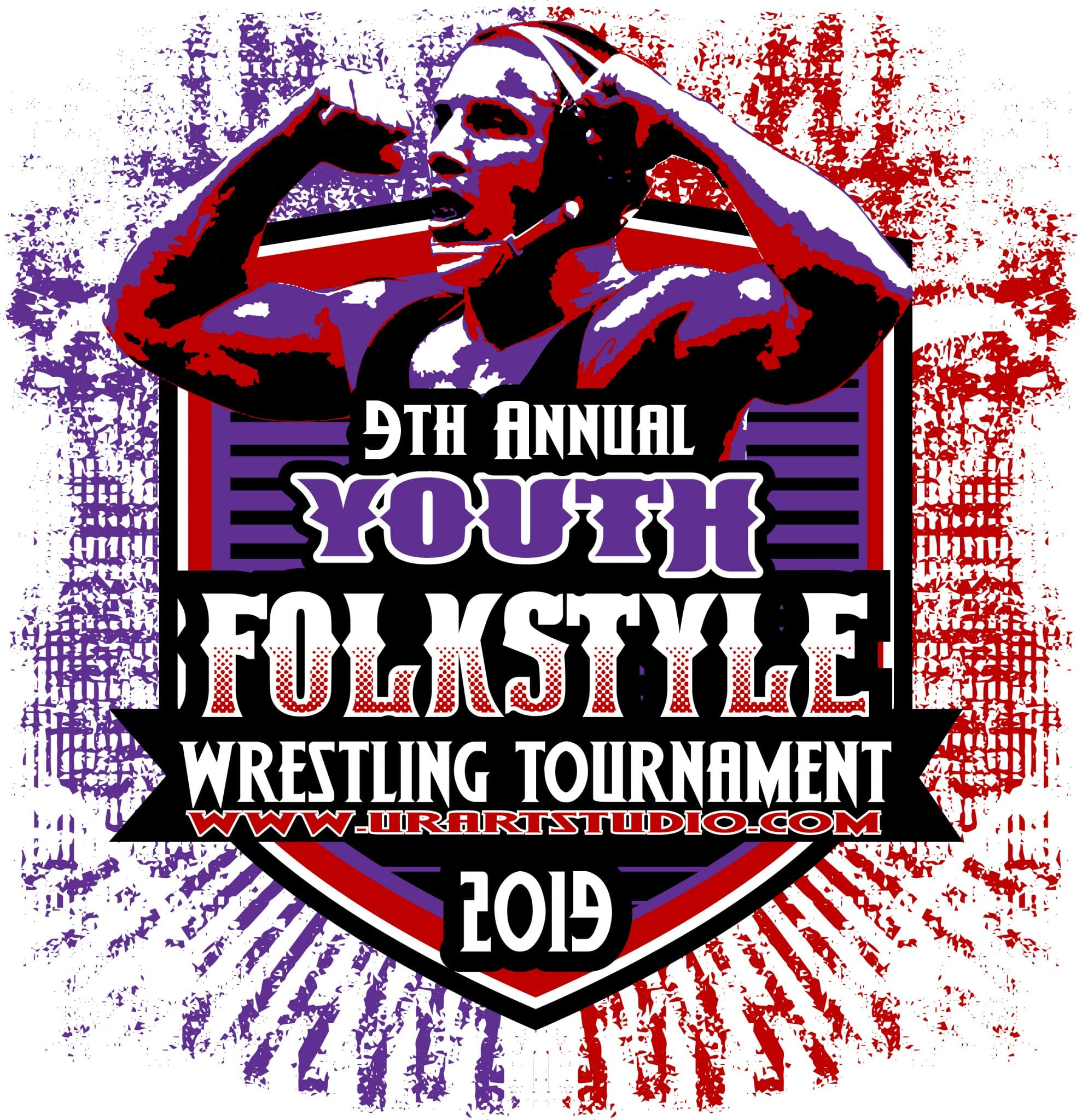 Wrestling 9th Annual Youth Folkstyle Tournament 2019 T Shirt Vector