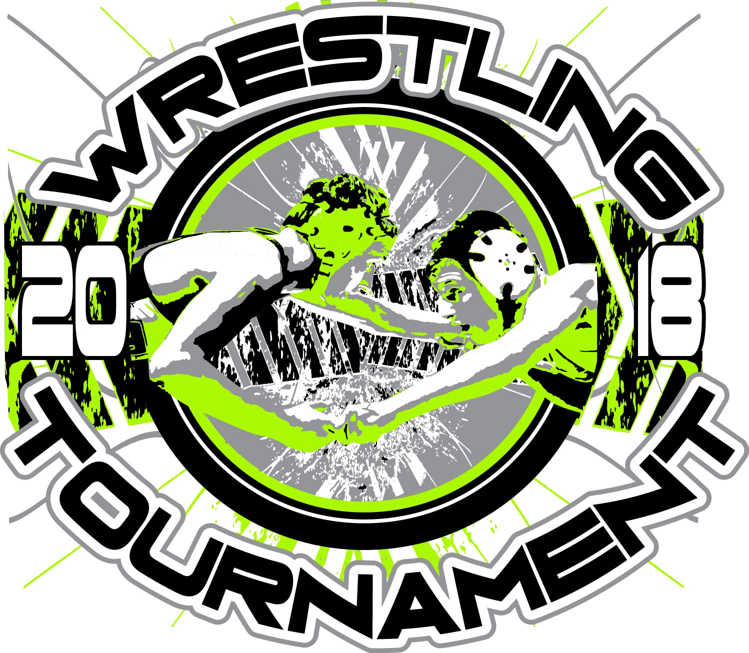 Wrestling Tournament 2018 Adjustable T Shirt Logo Design