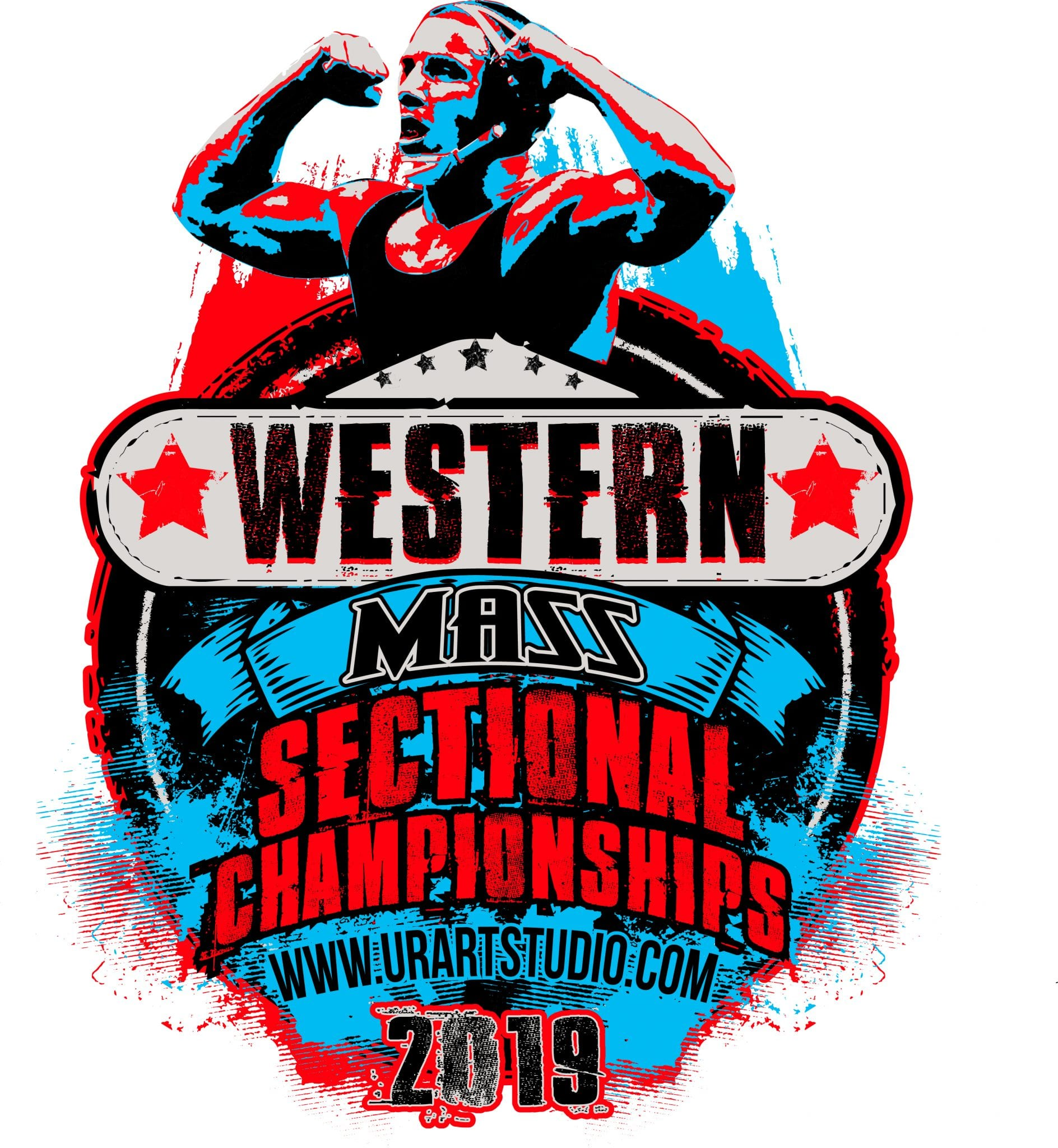 WRESTLING WESTERN MASS SECTIONAL CHAMPIONSHIPS 2019 T-shirt vector logo design for print