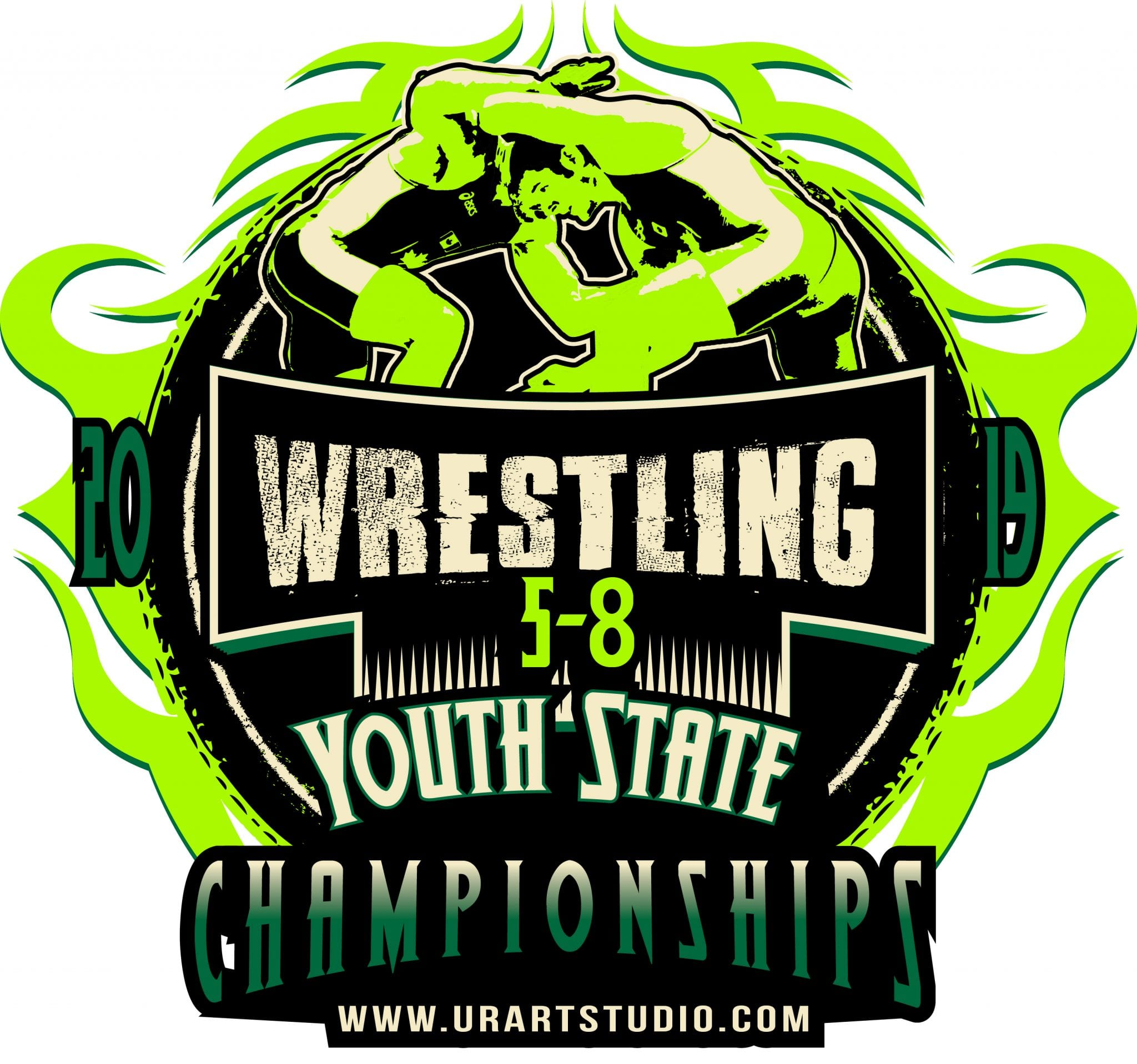 WRESTLING YOUTH STATE 5-8 CHAMPIONSHIPS 2019 T-shirt vector logo design for print