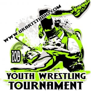 YOUTH WRESTLING TOURNAMENT 2019 T-shirt vector logo design for print