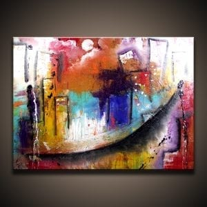 Acrylic City abstract painting by Peter Dranitsin