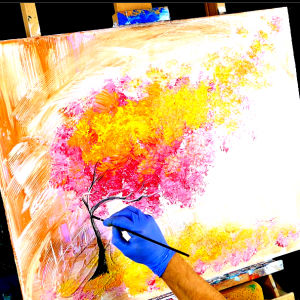 Easy abstract landscape painting magenta tree, acrylic paint, round brush, fan brush