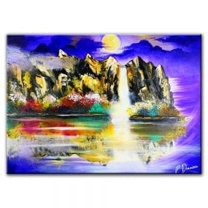 waterfall, mountains, purple sky, water reflection, magical painting
