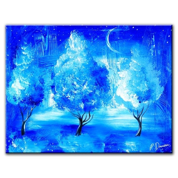 lucky star - abstract landscape painting of 3 blue trees by Peter Dranitsin