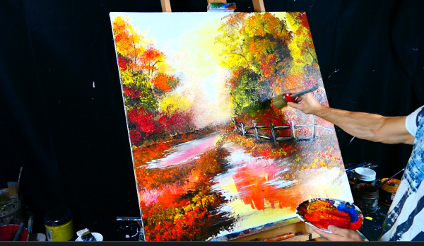 Painting autumn theme a path through the woods acrylic paint round brush