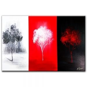 Three Channels abstract landscape painting red black white