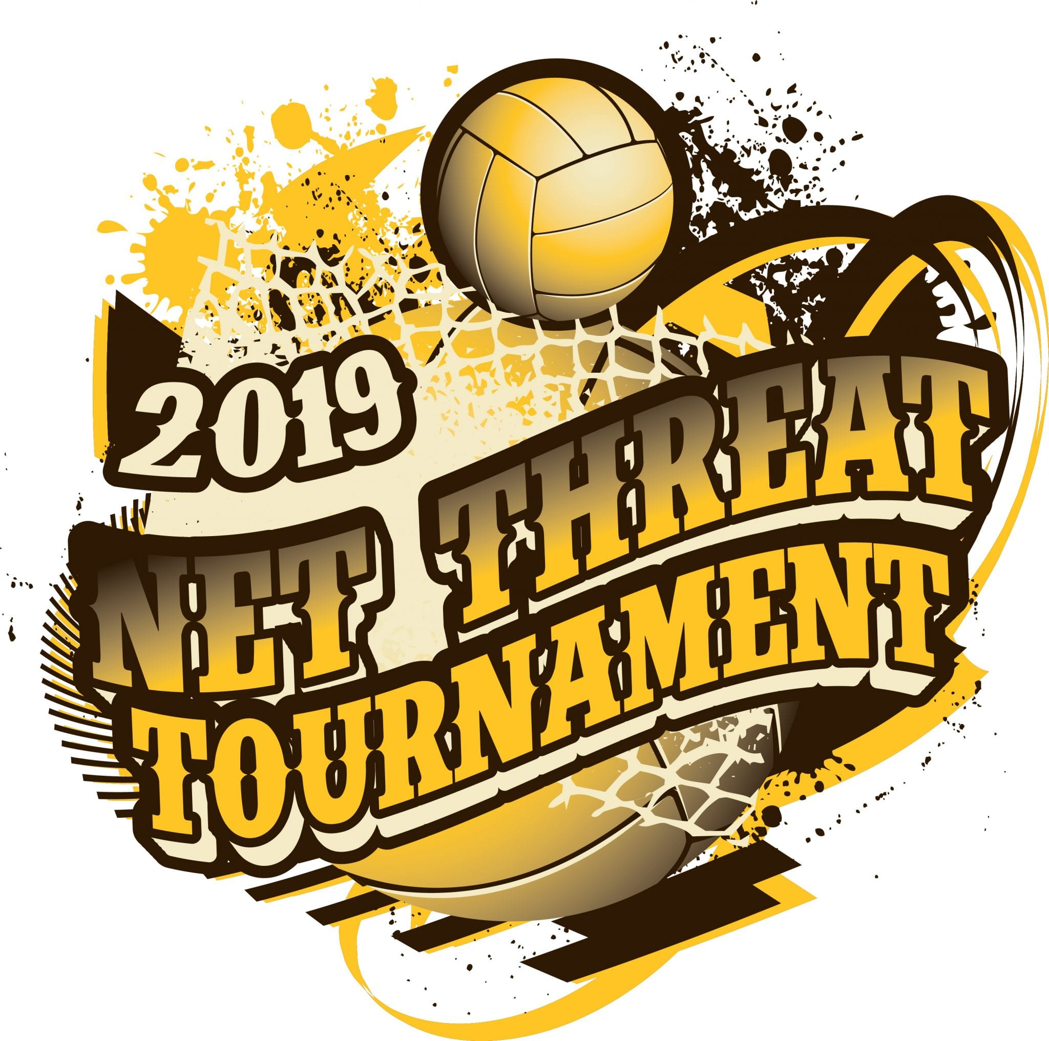 VOLLEYBALL NET THREAT TOURNAMENT 2019 adjustable T-shirt vector logo design for print