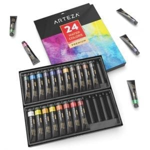 Watercolor Premium Artist Paints Set - 24 Colors (24 x 12 ml 0.74 US fl oz)